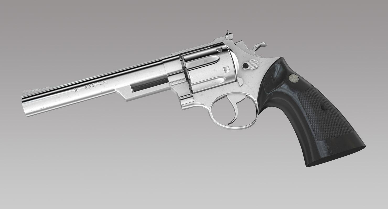 kokusai 44 magnum revolver 3d obj. Black Bedroom Furniture Sets. Home Design Ideas