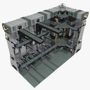 3d sci-fi wall complete model