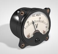 3d model vintage voltmeter