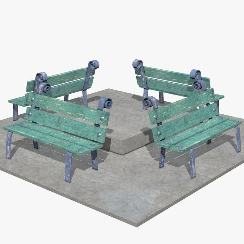 street benches 3d c4d