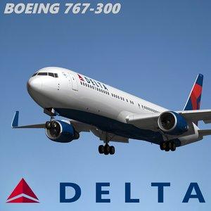 3d model boeing 767-300 delta air lines