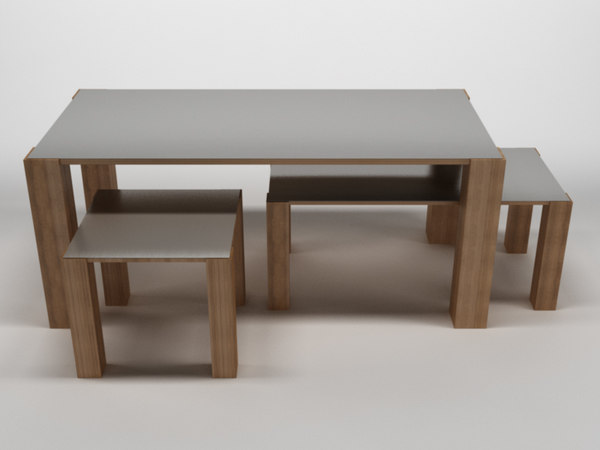 3d model table chair 1