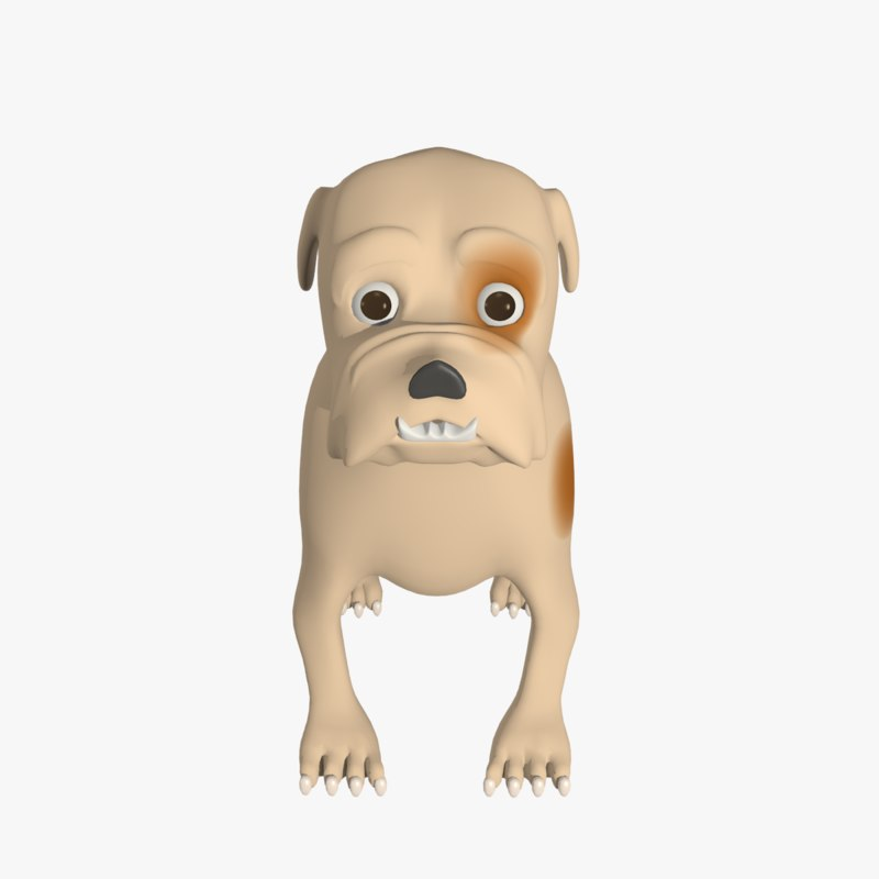 3d cute bulldog puppy