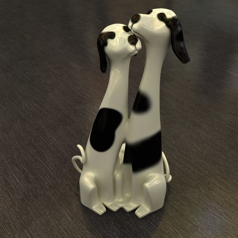 3d glass dog