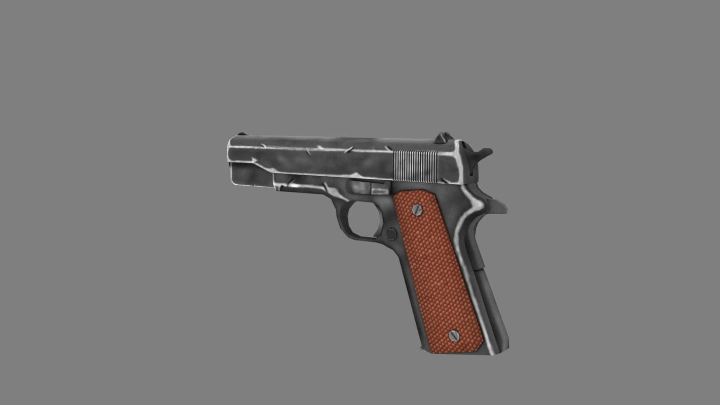 free m1911 gun 3d model