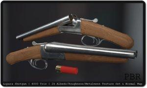 sawed lupara shotgun 12 gauge 3d model
