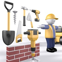 Construction worker stickman & tools