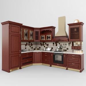 3d model kitchen classic 01