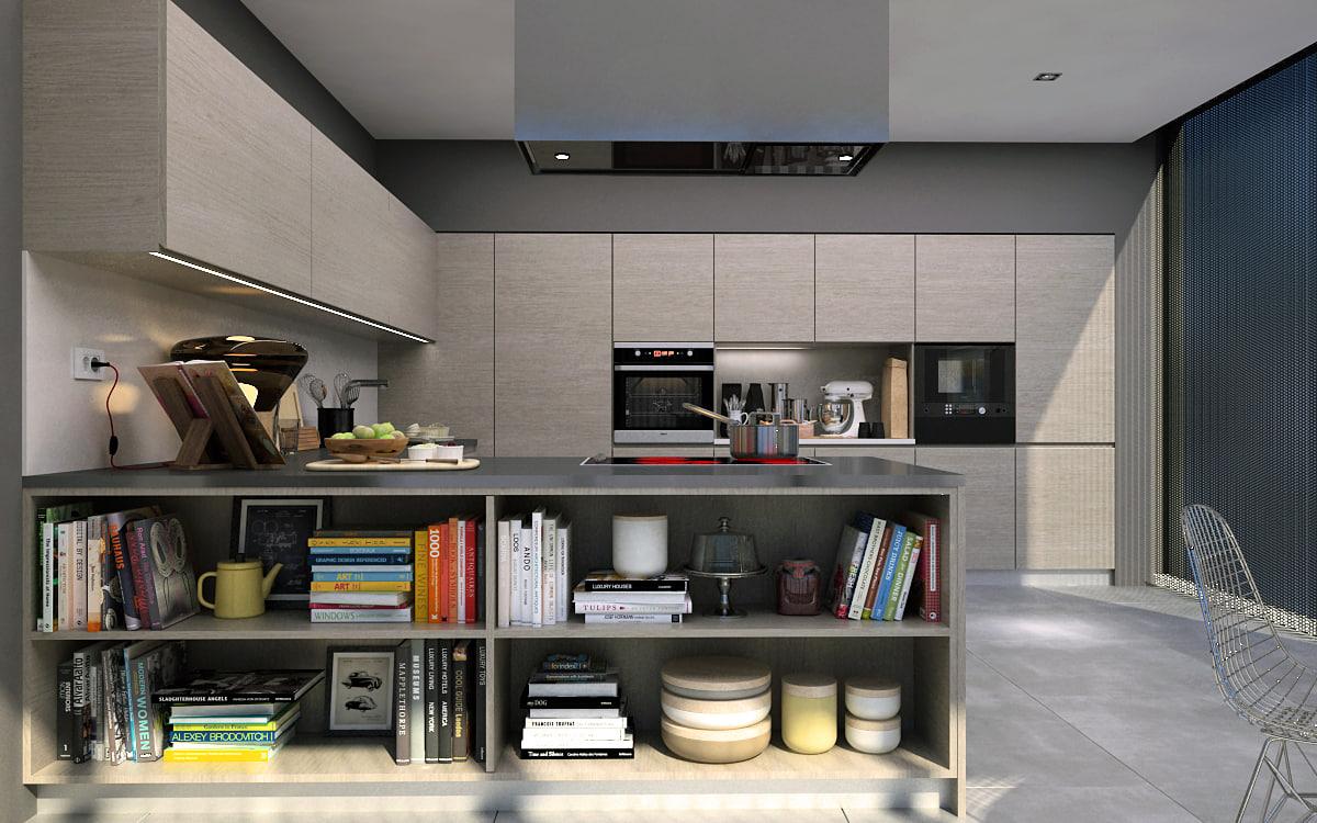 3d model kitchen interior scene