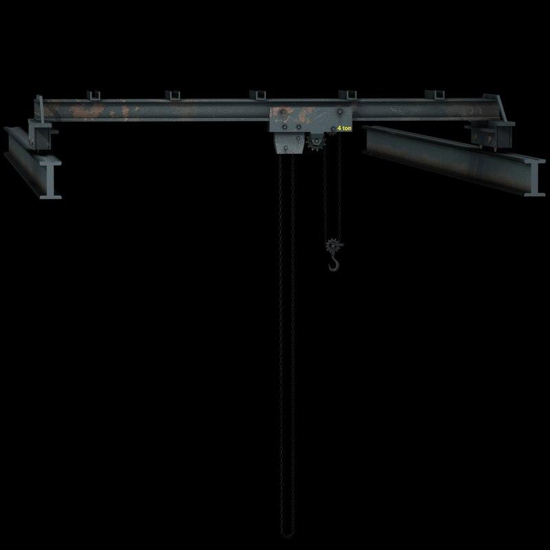 3d old overhead crane model