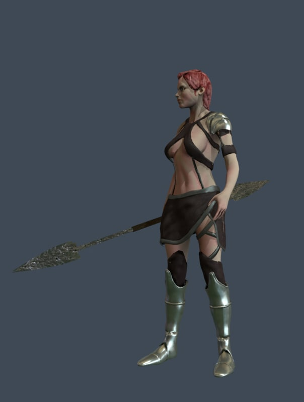 3d model girl warrior