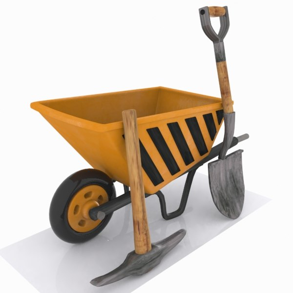 wheelbarrow pickaxe shovel 3d model