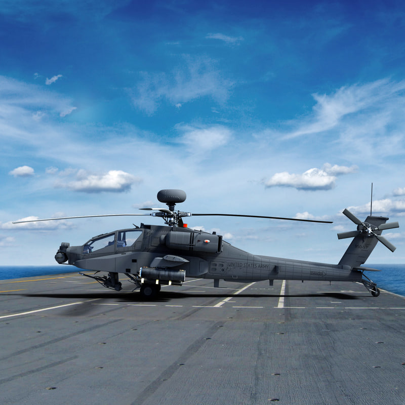 3d max ah64e apache longbow helicopter