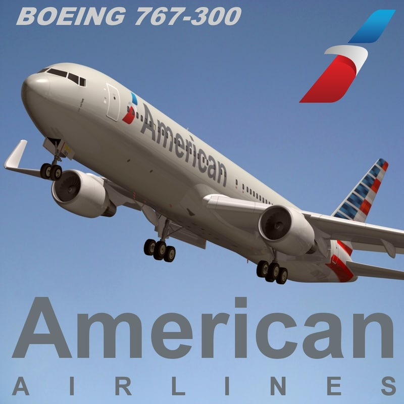 3d boeing 767-300 american airlines
