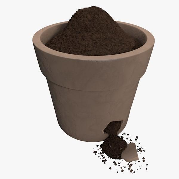 3d realistic damaged flower pot