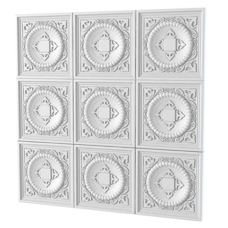 3d model of plaster decorative pattern