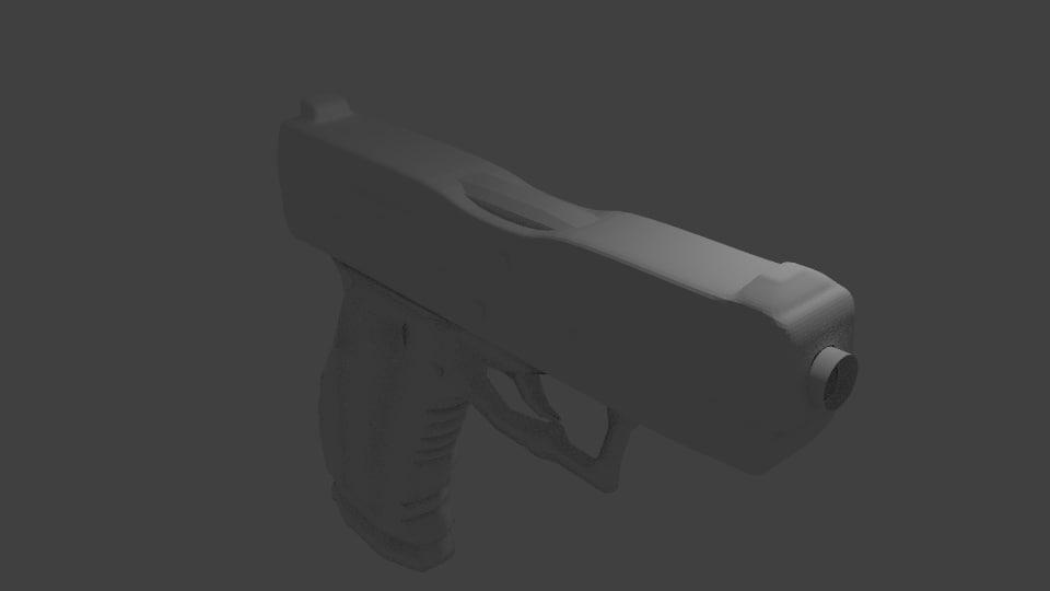 3ds pistol polys modeled