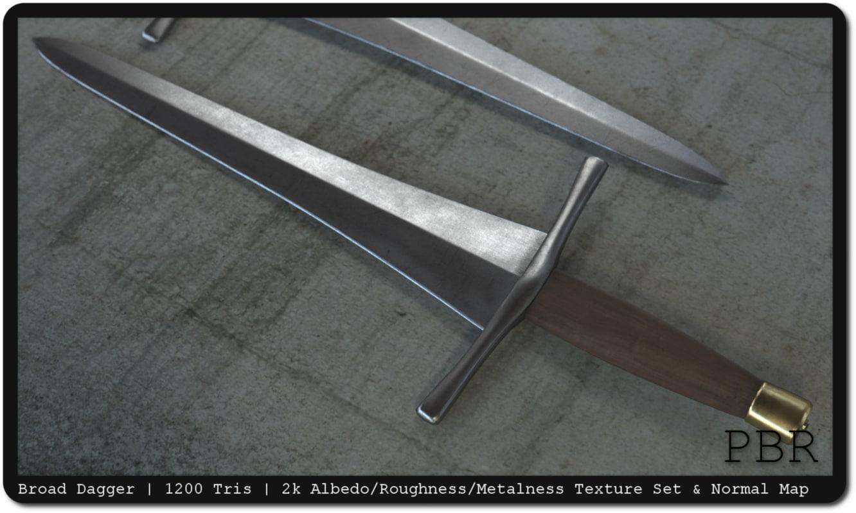 3d model medieval broad dagger