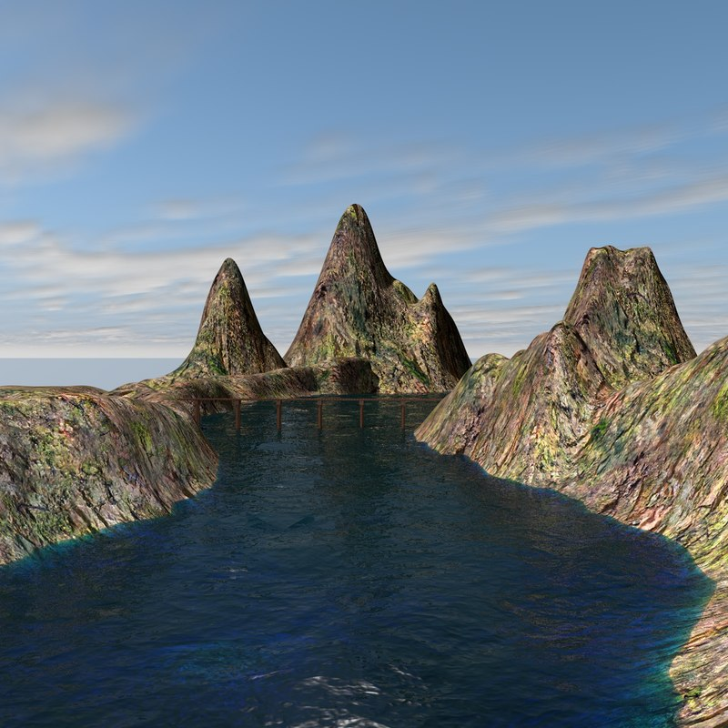 3ds max landscape water mountains