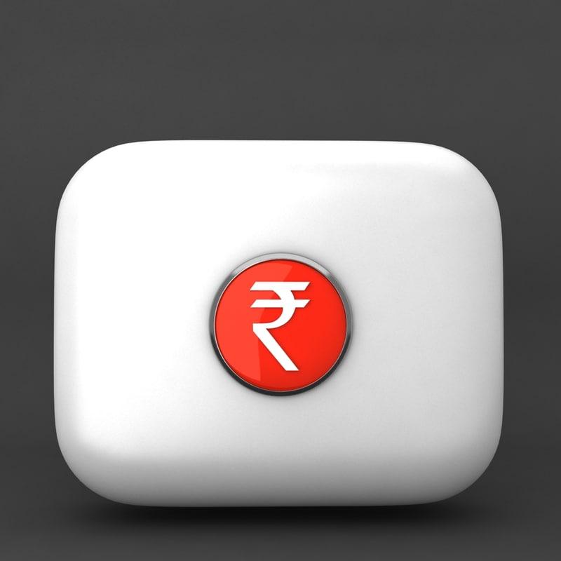 3d indian rupee model