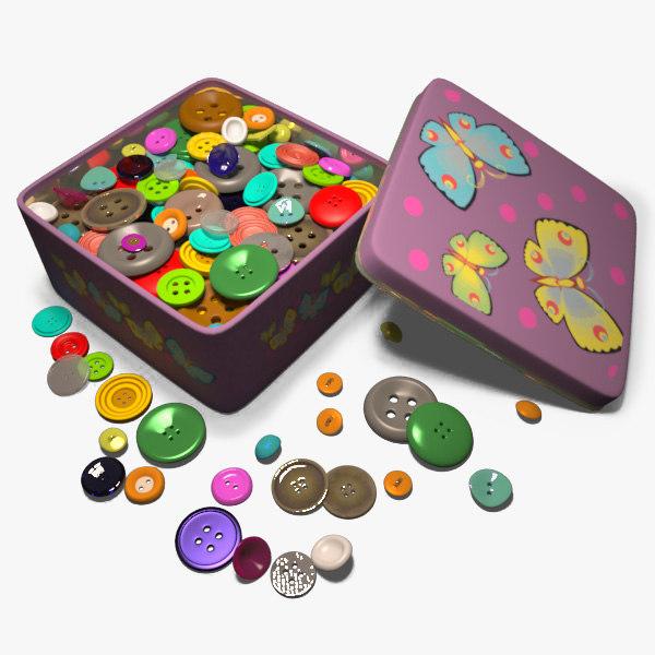 3d model box buttons