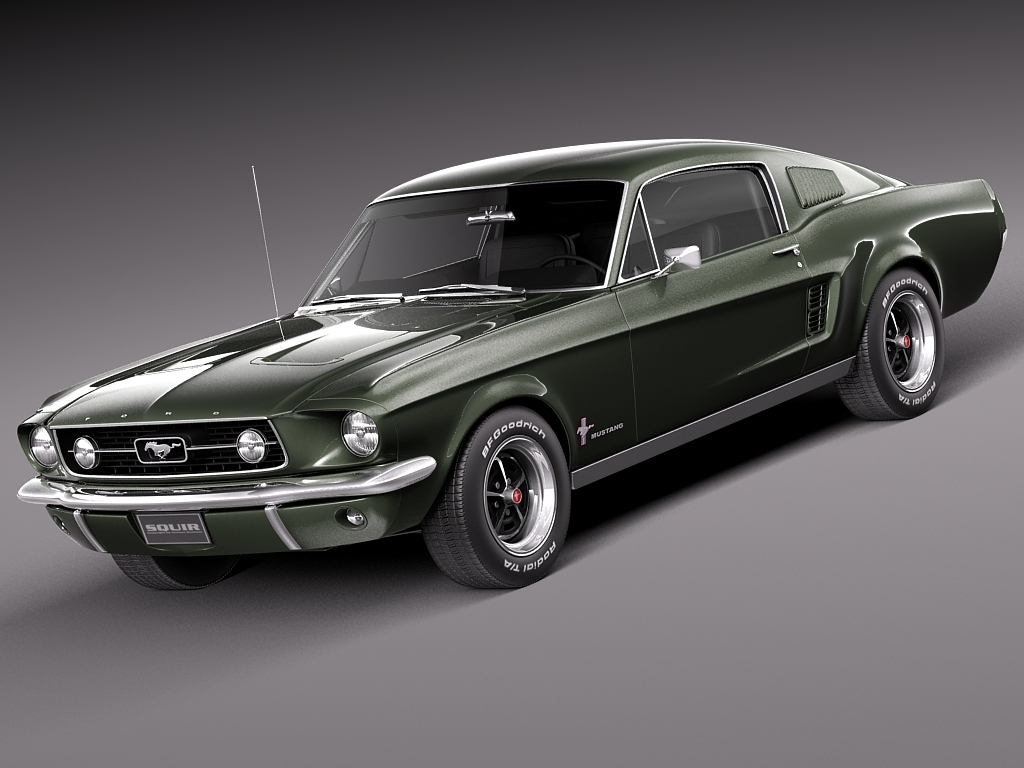 3d max 1967 mustang fastback