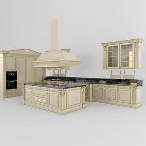 3d model kitchen classic 02