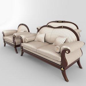 sofas armchair set 01 3d obj