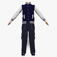 3d model jacket pants boy