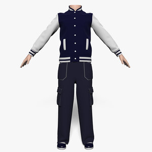 3d model jacket pants boy