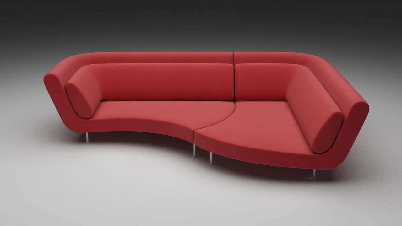 red living sofa furniture 3d model