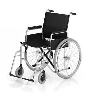 3d black wheelchair