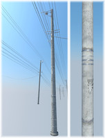 powerline street - japanese style 3d 3ds