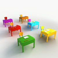 Cartoon Desks Chairs Classroom