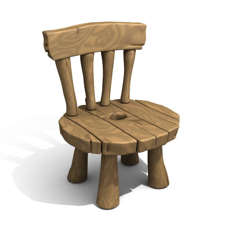 obj cartoon chair
