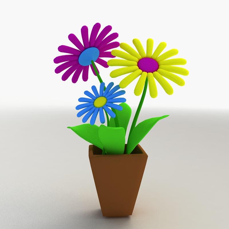 3d model cartoon flower