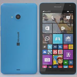 3d model microsoft lumia 535 blue