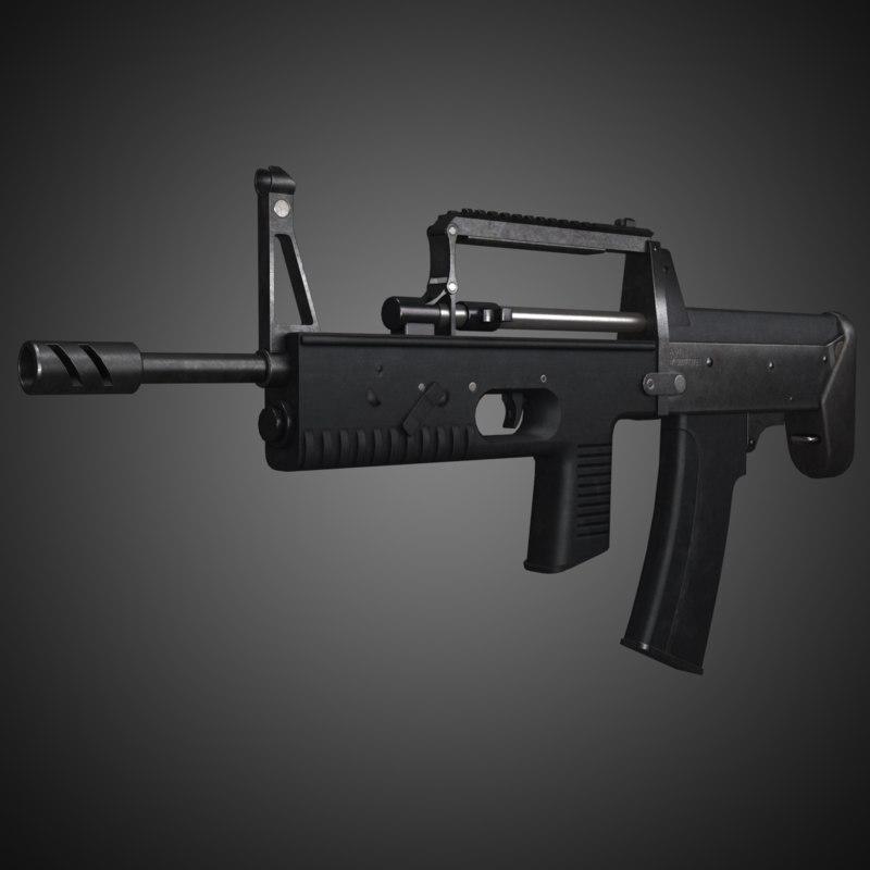a-91 bullpup assault rifle 3d model