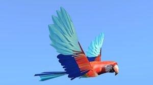 macaw parrots 3d blend