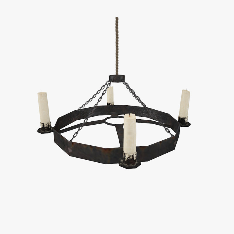 3d model of medieval iron chandelier
