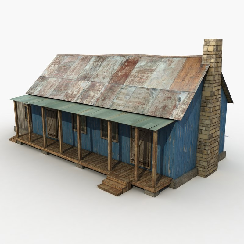 3d model of wooden house wood