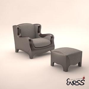 3d model promemoria club armchair