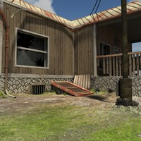 3d obj old post apocalyptic house