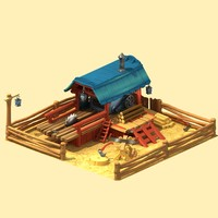 3d cartoon sawmill