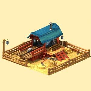 3d cartoon sawmill