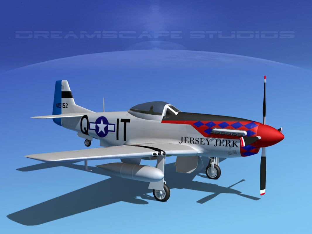 3d model of p-51d cockpit propeller