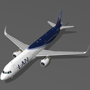 3d sharkleted a321neo lan airlines model