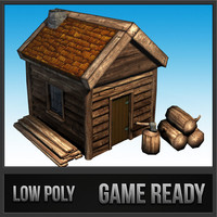 3ds max lumber jack hut polys