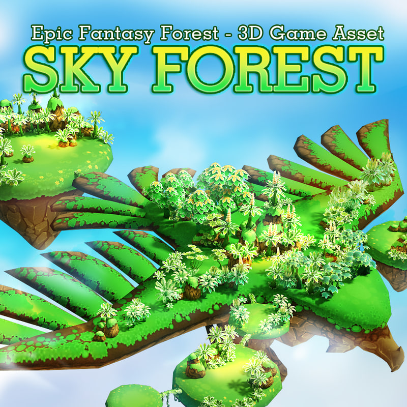 3d model fantasy environment sky forest