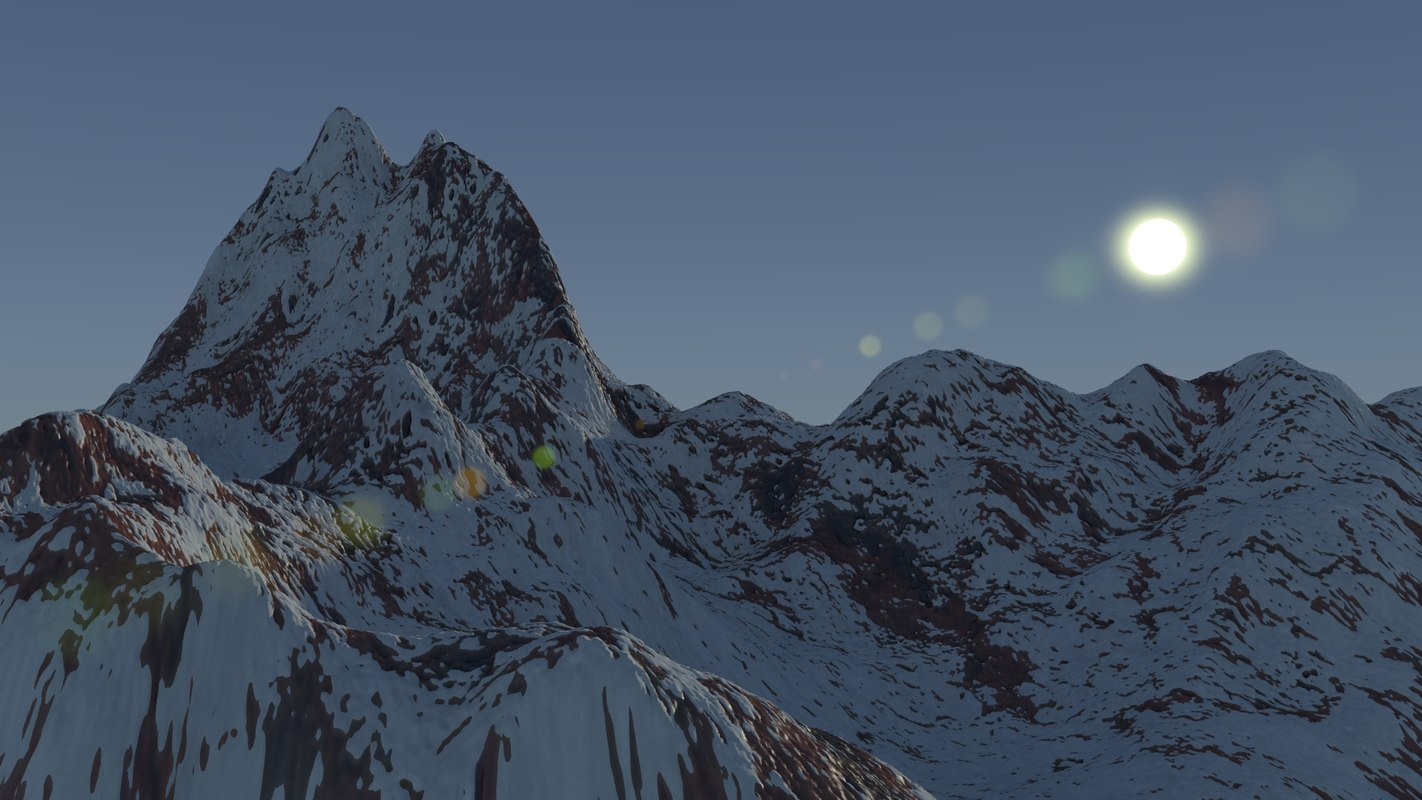 3d snowy mountain snow model
